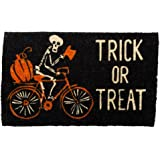tag Trick or Treat Bicycling Skeleton Coir Doormat