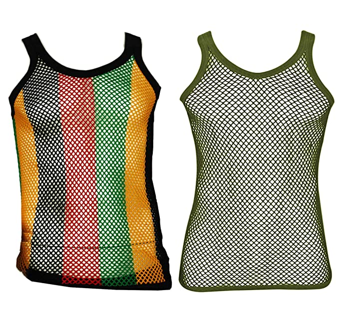 6fe39cdac888cc UD Accessories 100% Cotton Rasta STRING VEST Mesh Fishnet Fitted Striped  Black Red Green Yellow Colours  Amazon.co.uk  Clothing