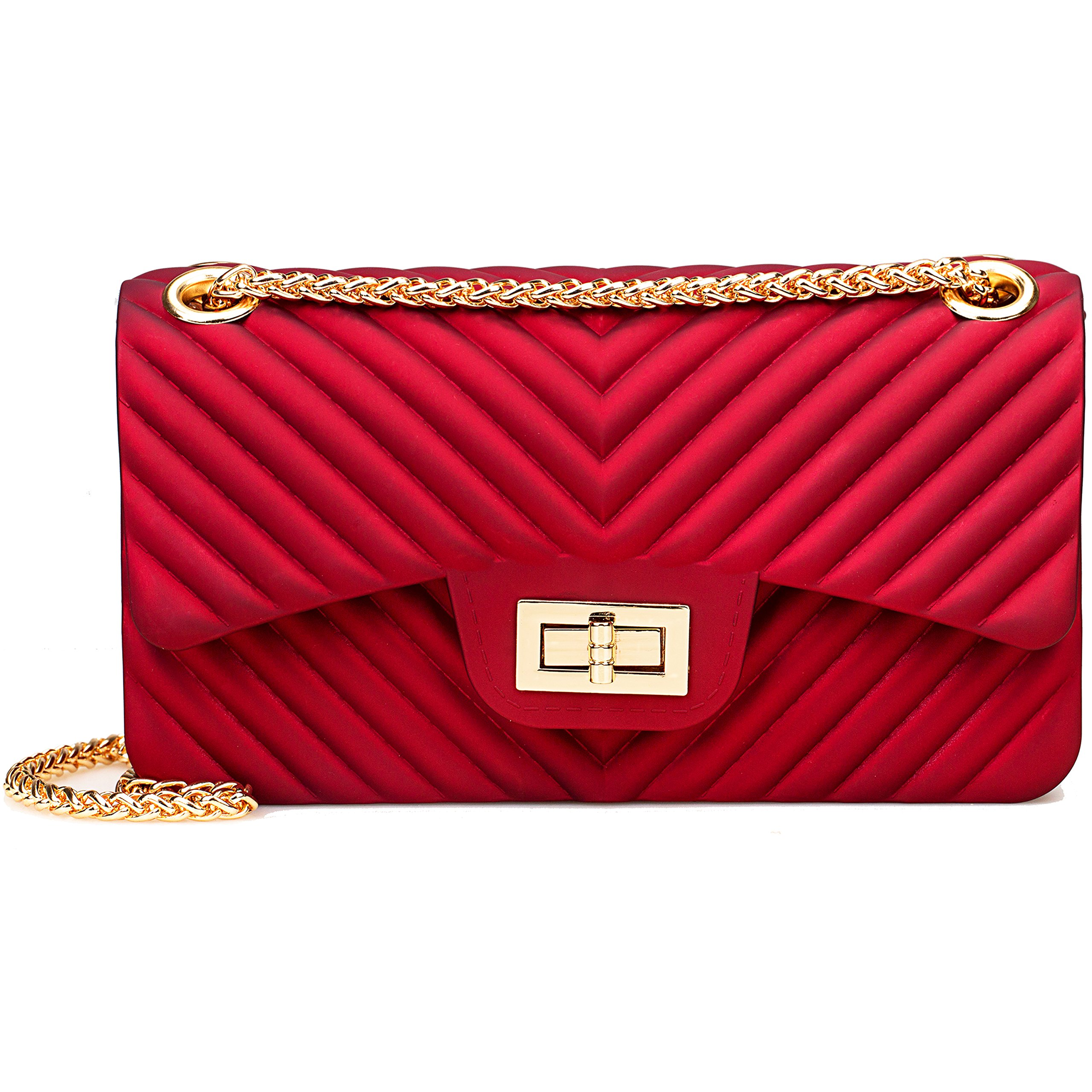 Women Fashion Shoulder Bag Jelly Clutch Handbag Quilted Crossbody Bag with Chain - Red