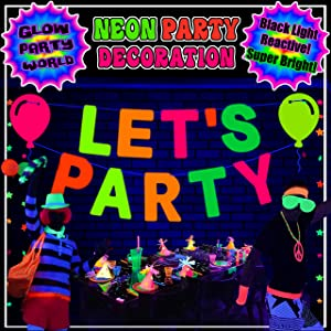 Neon Party Supplies. Let's Party Banner & Balloon Cutouts! Black Light Reactive Decorations. Hanging Garland Paper Letters. UV Glow Party décor for Birthday Wedding School Dance 60s 70s 80s 90s Theme