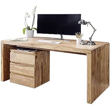 Finebuy Schreibtisch Massiv Holz Akazie Computertisch 120 Cm Breit