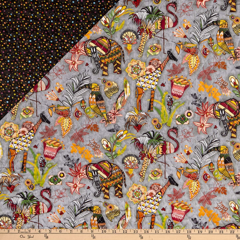 Fabri-Quilt Paintbrush Studio Fabrics Ubuntu Pre-Quilted Multicolored Fabric by the Yard