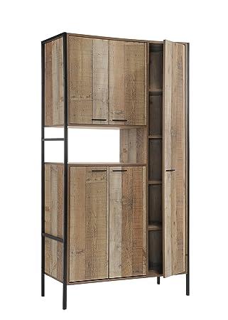 Timber Art Design Stretton Urban Kitchen Cabinet Unit with 5 Doors Rustic Industrial Oak Effect  sc 1 st  Amazon UK & Timber Art Design Stretton Urban Kitchen Cabinet Unit with 5 Doors ...
