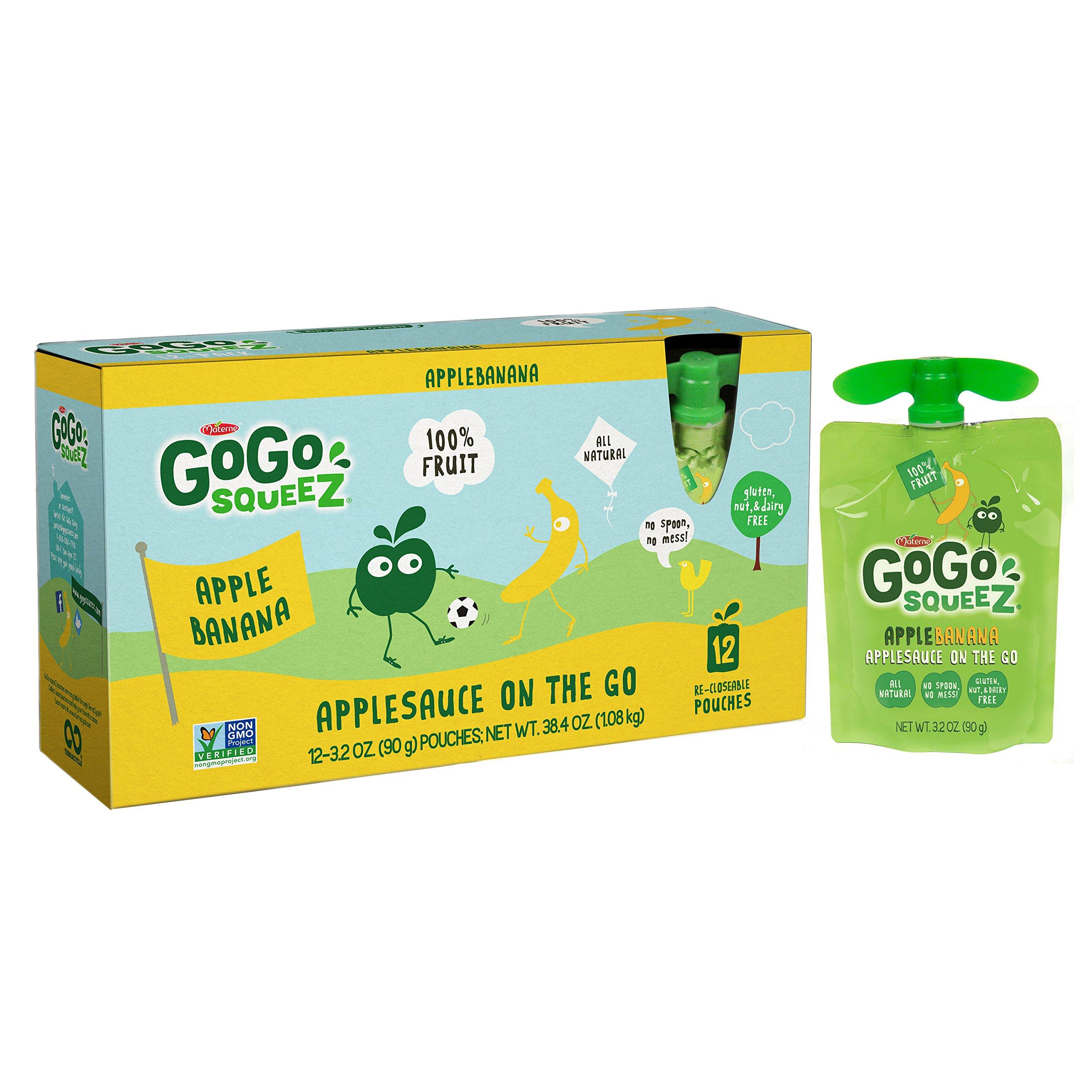 GoGo squeeZ Applesauce on the Go, Apple Banana, 3.2 Ounce Portable BPA-Free Pouches, Gluten-Free, 12 Total Pouches