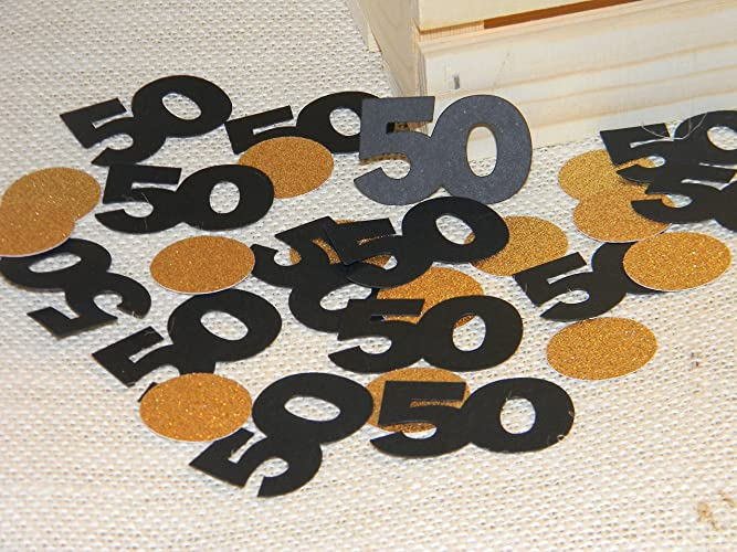 100 Mixed Black And Gold 50th Birthday Party Decoration 50 Number Confetti Supplies