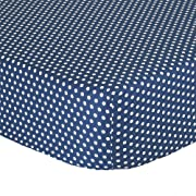 Navy Blue Confetti Dot Fitted Crib Sheet - 100% Cotton Baby Boy Geometric Polka Dot Design Nursery and Toddler Bedding