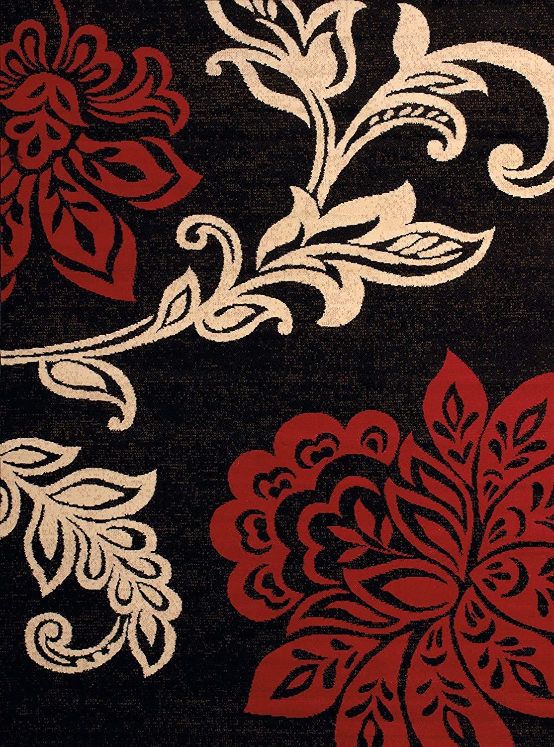 United Weavers of America Dallas Trousseau Rug - 5ft. 3in. x 7ft. 2in, Red, Polypropylene Rug with Floral Pattern, Jute Backing. Modern Indoor Rugs