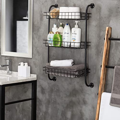 3-Tier Wall-Mounted Metal Wire Organizer Shelf, Bathroom Storage Rack, Black
