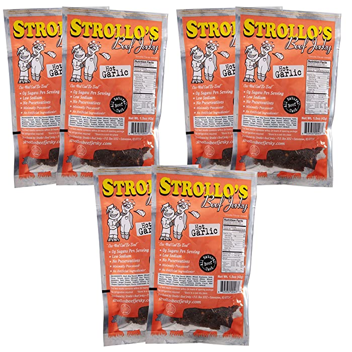 Strollo's Beef Jerky Hot Garlic Flavor 5 Pack - Low Sodium, Low Sugar, Low Carb - Made with all Natural USA Beef, USDA Certified