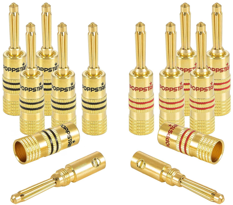 contactos chapados en Oro de 24k Amplificador 2 Negros, 2 Rojos 4 Conectores Tipo Banana de Gama Alta Poppstar; Bananas para Cables de Altavoz Receptor de AV hasta 4 mm/²