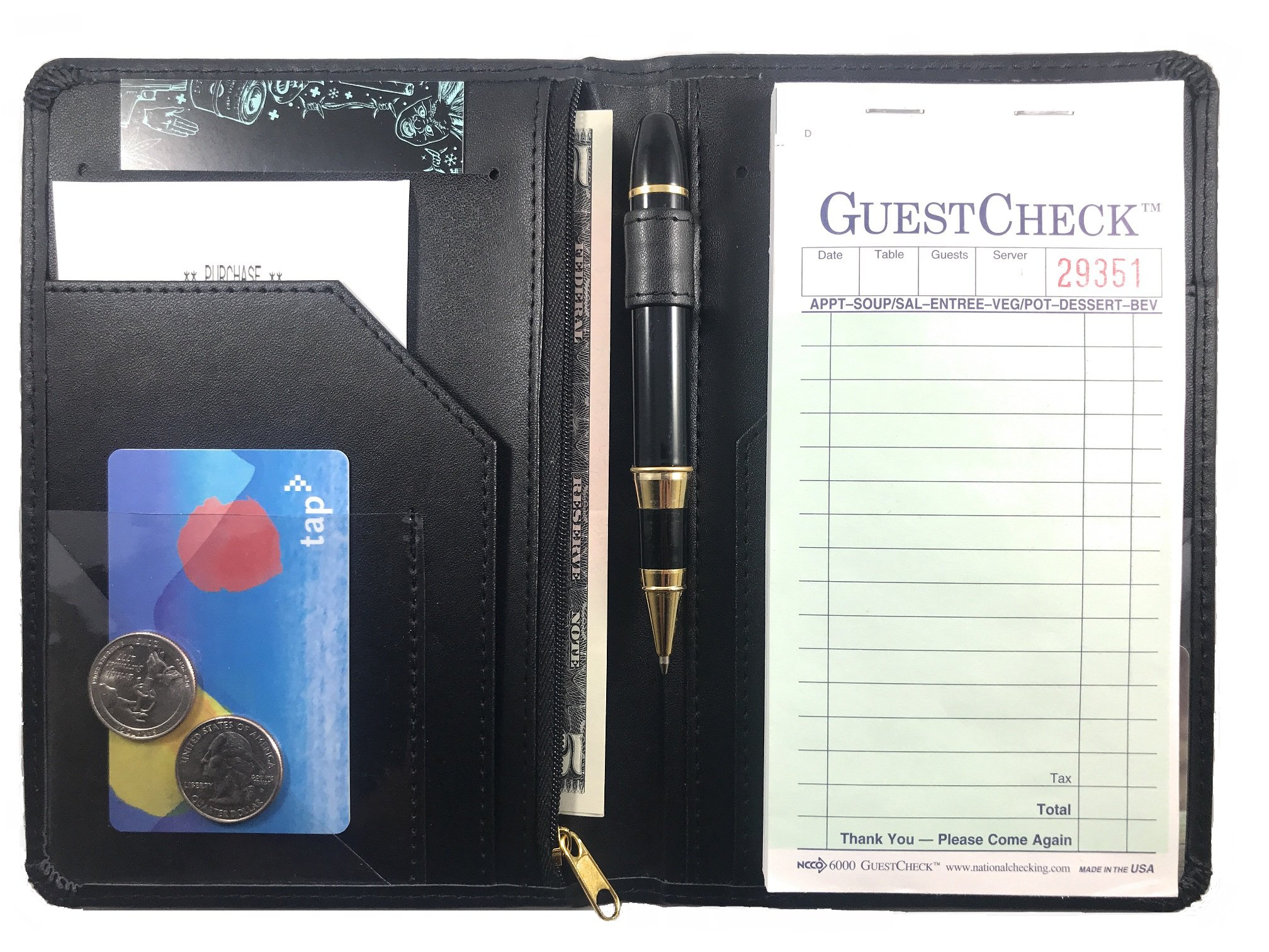 Waitress Server Book - Restaurant Waiter Wallet Notepad - Money Organizer - Guest Check - Zipper - 10 Pockets - 5 x 7.5 Inch