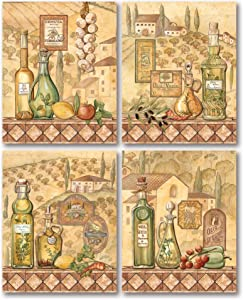 Flavors Of Tuscany I -Beautiful Classic French Vineyard; Kitchen Decor; Four 8 x 10 Poster Prints