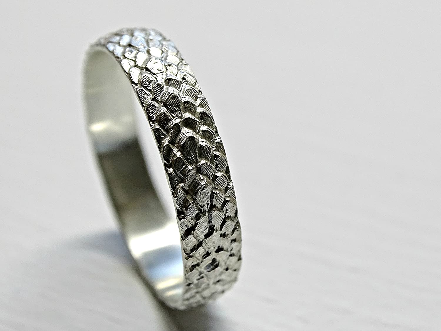 Amazon Com Dragon Scale Ring Silver Feather Ring Medieval