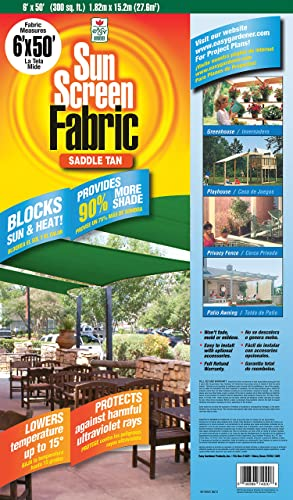 Easy Gardener Sun Screen Fabric Reduces Temperature Up to 15 Degrees, Provides 75 More Shade Saddle Tan Shade Fabric, 6 Feet x 50 Feet
