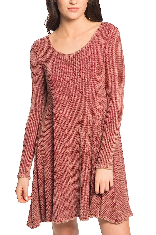 PPLA PL257B540-VLA Burgundy Garnet Thermal Knit Swing Dress