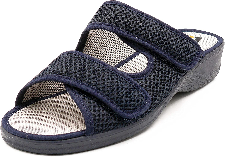 Zapatilla Mujer, Marca DOCTOR CUTILLAS, Color Azul Marino, Cierre Dos velcros y Abierta talón - 21741-1126
