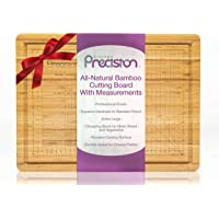 Kitchen Precision Organic Bamboo Cutting Board with Chef Guide Measurements - Double Sided Australian Designed…