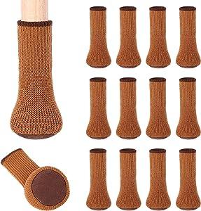 Chair Leg Socks, BLENDNEW 24 Pcs Chair Leg Floor Protectors, Knitting Wool Furniture Chair feet Socks/Elastic Thick Bottom Furniture Booties/Anti-Slip Furniture Pads Covers Set (Brown)