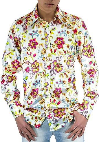 Flower Power Camisa de los años setenta Flores: Amazon.es: Ropa y accesorios