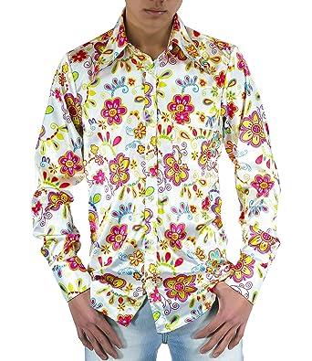 23f2f86bb7 Comycom Flower Power 70er Jahre Hemd geblümt: Amazon.de: Bekleidung
