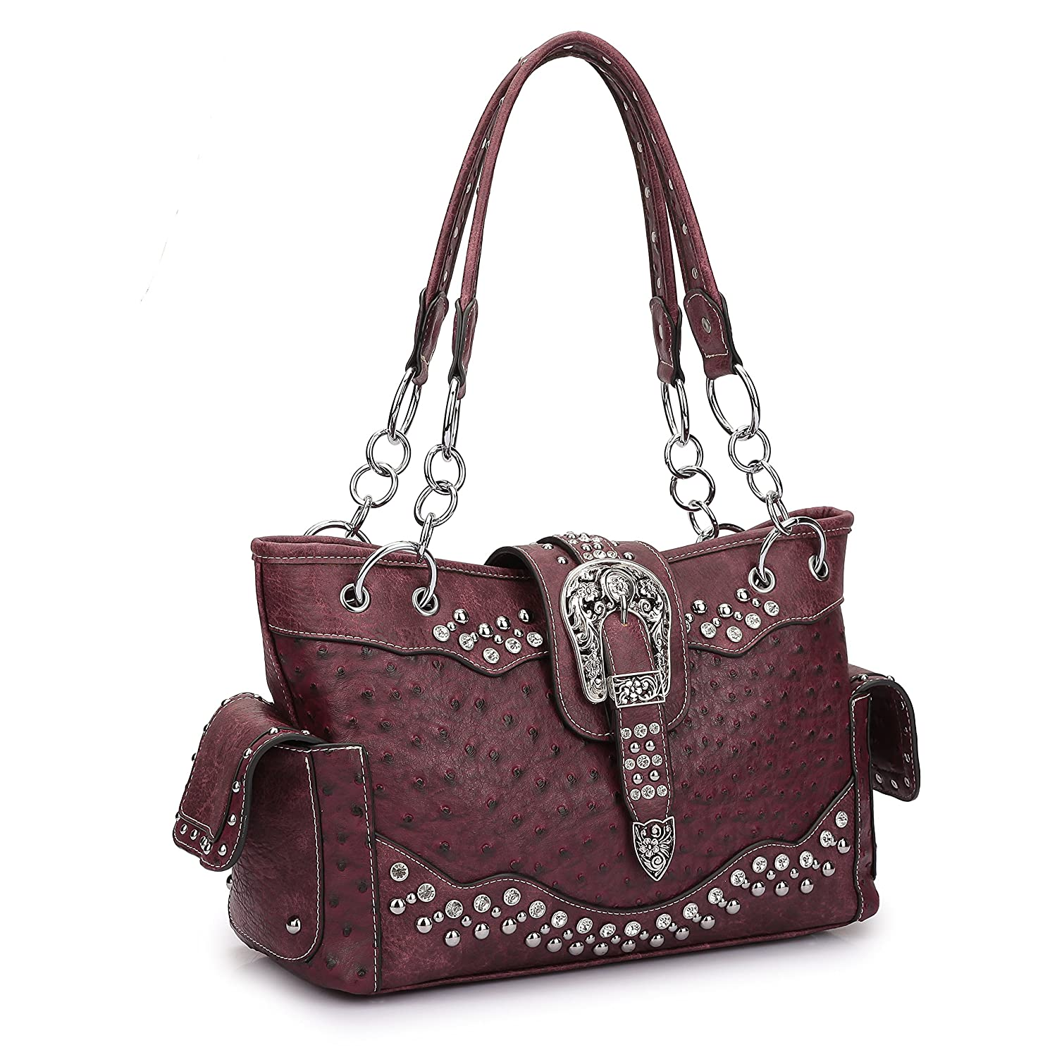 89be2661e7 Dasein Western Style Buckle Ostrich Faux Leather Handbag Tote Bag with  Rhinestone Accents (Ostrich Style