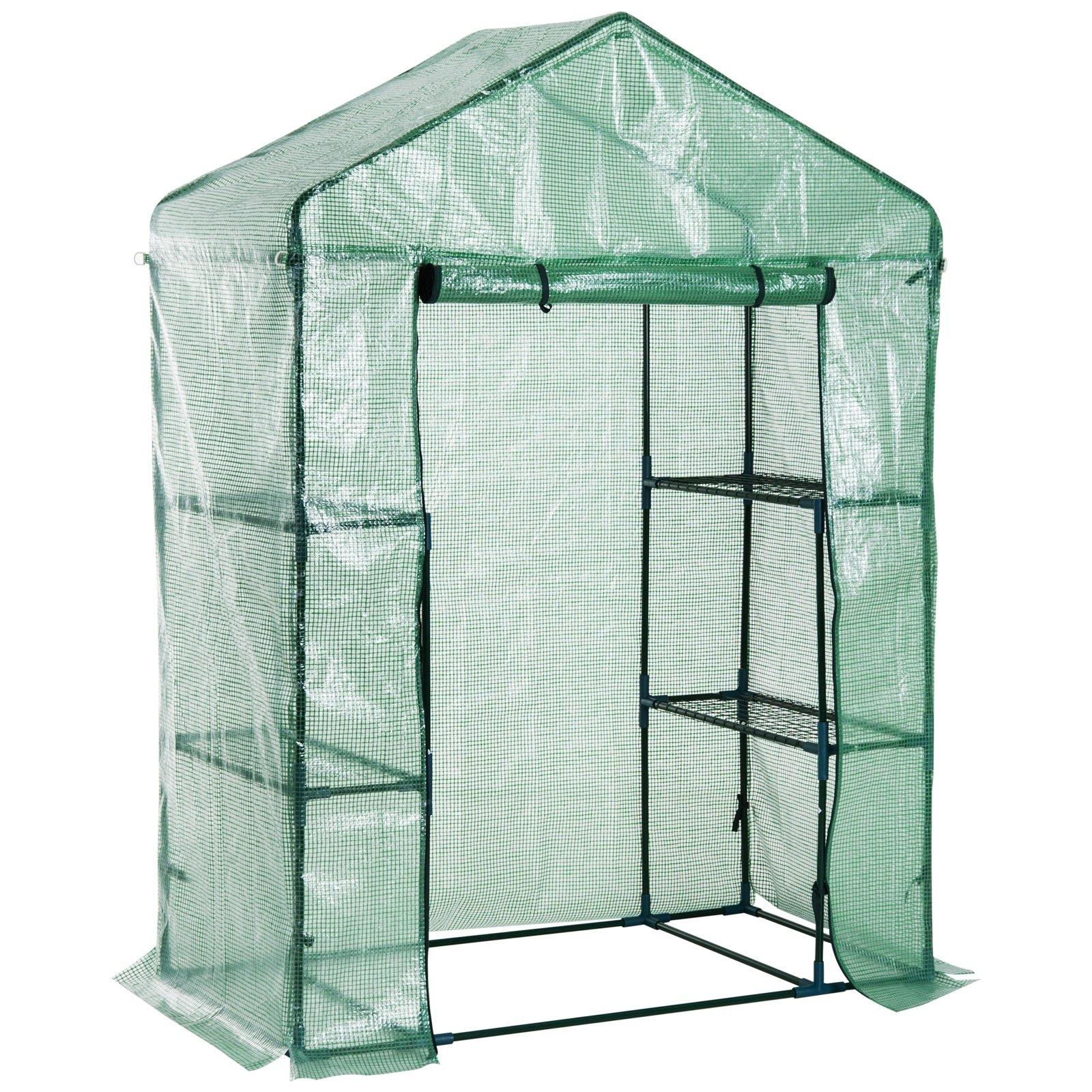 Festnight Outdoor Patio Portable Walk-In Greenhouse Lightweight Deck with Zippered Door 4.5' x 2.5' x 6.5' 3