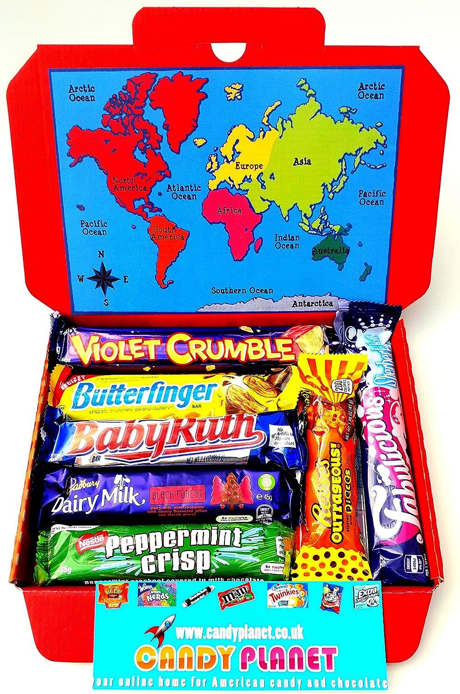 International World Chocolate Bar Selection Box American Candy Australian Lolly Kiwi New Zealand Sweets Peppermint Crisp Violet Crumble Chocolate
