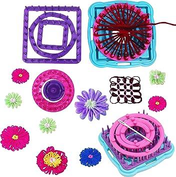 Métier à Tricoter Circulaire 6pcs Cadre Corsage Fleurs Crochet 3 Ronds 2 Carrés 1 Métier à Tisser Hexagonal Avec 1 Base 1 Axe Central 1