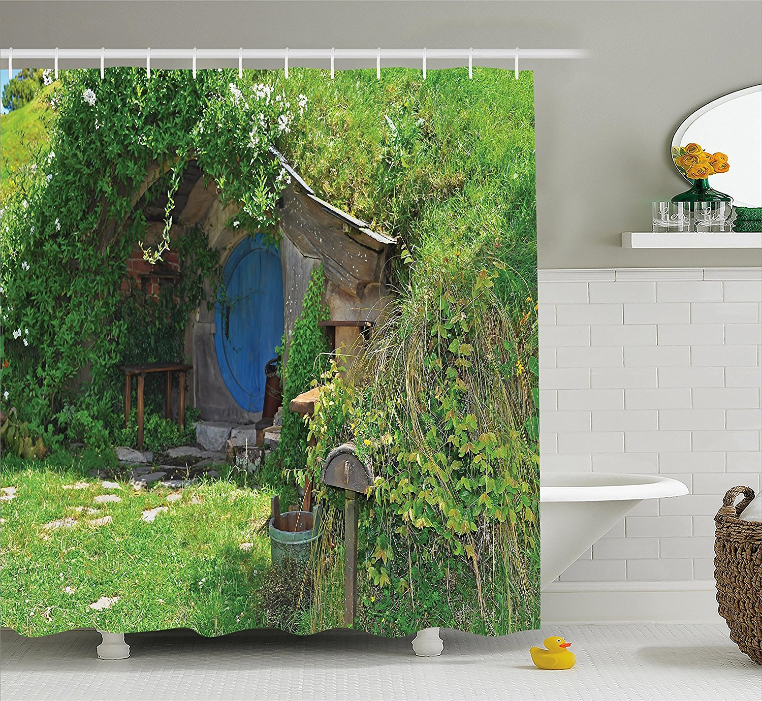 Mirryderr Hobbits Shower Curtain Set, Fantasy Hobbit Land House in Magical Overhill Woods Movie Scene Image New Zealand, Fabric Bathroom Decor with Hooks, Green Brown Blue