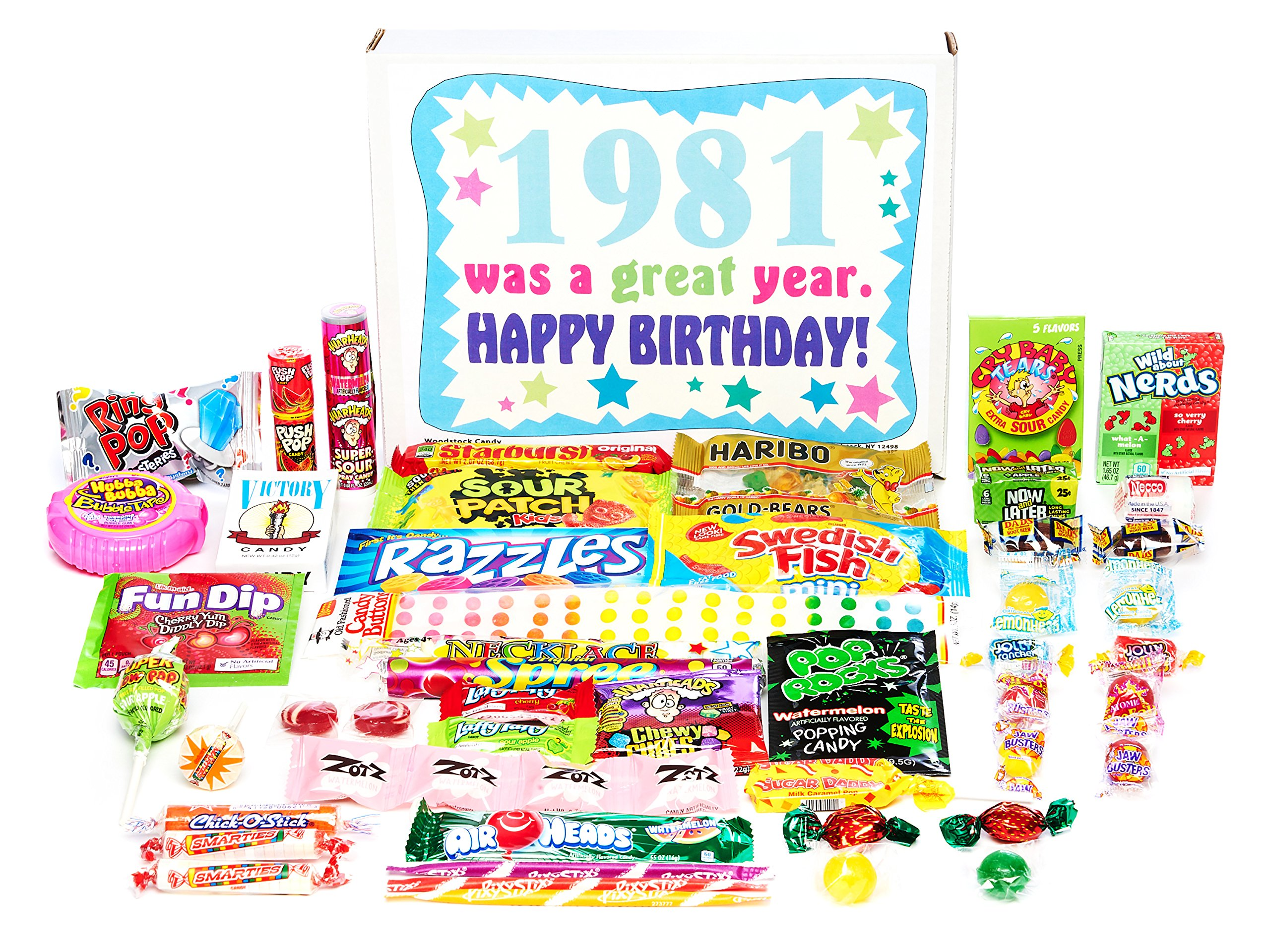 Woodstock Candy ~ 1981 38th Birthday Gift Box of Nostalgic Retro Candy from Childhood for 38 Year Old Man or Woman Born 1981