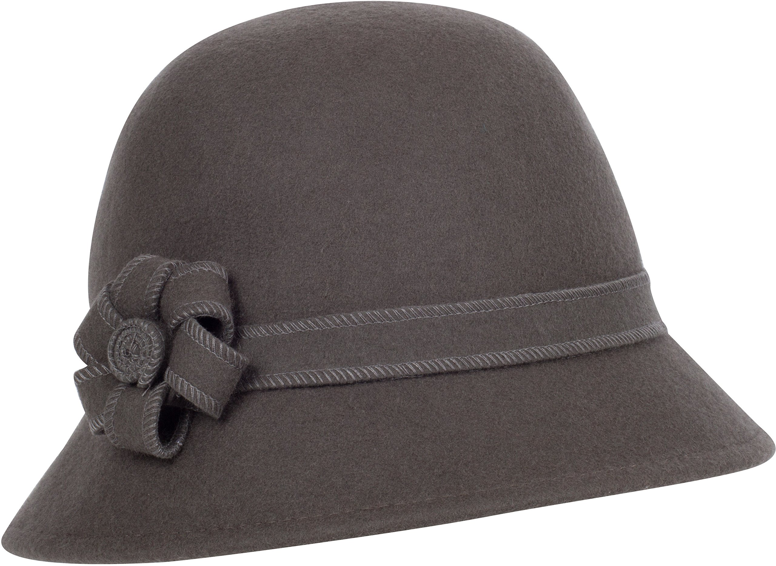 Sakkas 20M Molly Vintage Style Wool Cloche Hat - Taupe Grey - One Size by Sakkas
