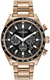Citizen Watch men's quartz Watch with black Dial chronograph Display and rose gold Stainless steel gold plated Bracelet CA4203-54E