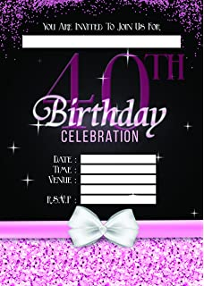 LADIES 40TH BIRTHDAY PARTY INVITES INVITATIONS X 10 PACK