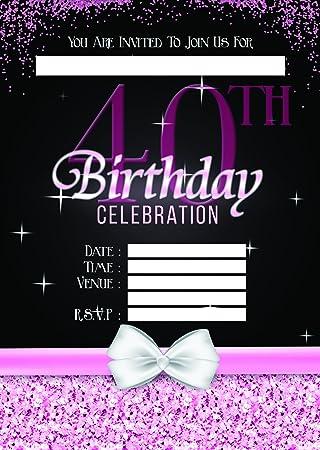 ladies 40th birthday party invites invitations x 10 pack amazon co