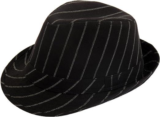 UNISEX  WHITE BLACK PINSTRIPE TRILBY FASHION HATS 56CM