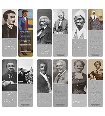 Creanoso Inspiring Historical Famous African Americans Bookmarks (60-Pack)  – Premium Gift Bookmarks Gift Ideas for Young Men & Women, Teens, Students