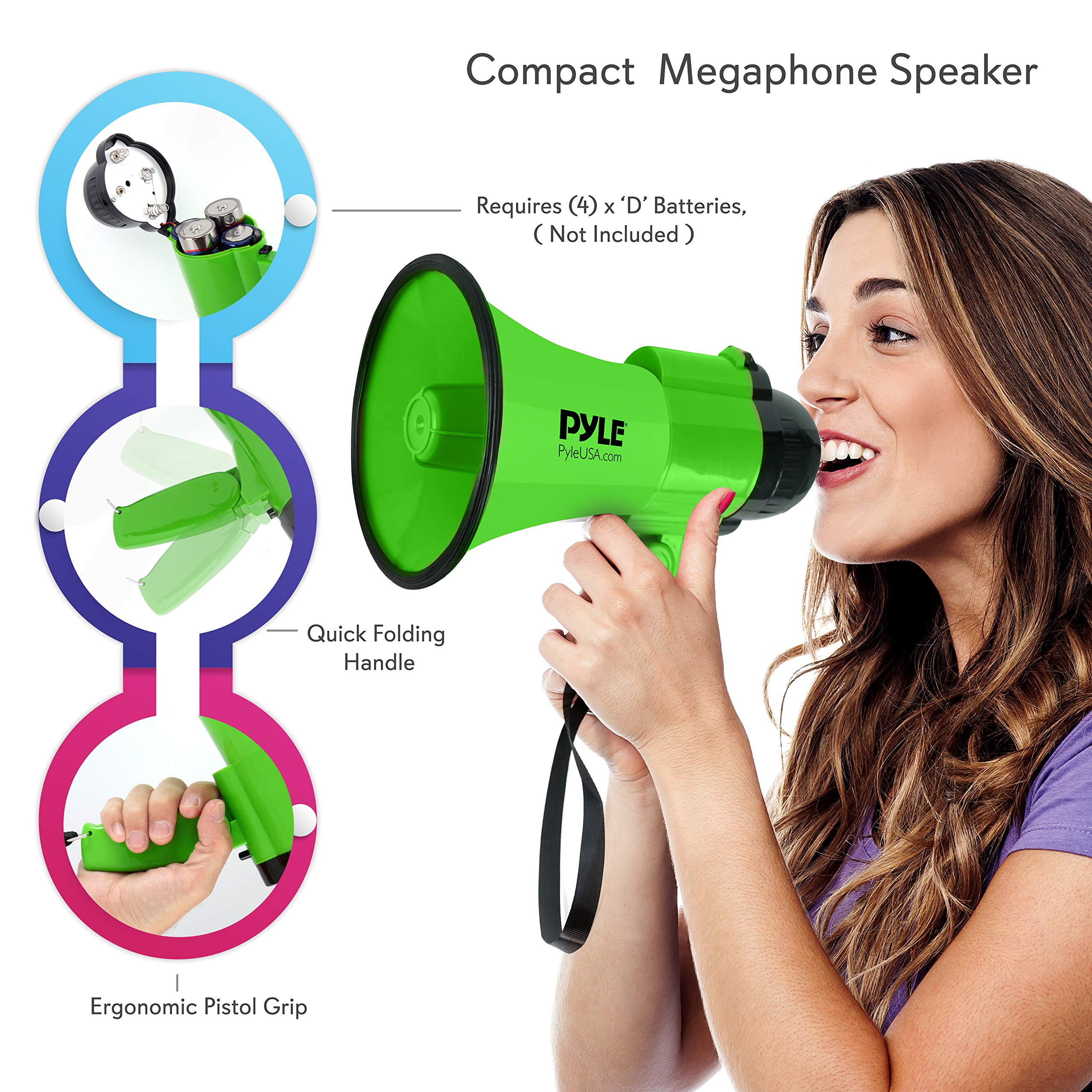 Portable Megaphone Speaker Siren Bullhorn - Compact and Battery Operated with 30 Watt Power, Microphone, 2 Modes, PA Sound and Foldable Handle for Cheerleading and Police Use - Pyle PMP32GR (Green) by Pyle (Image #3)