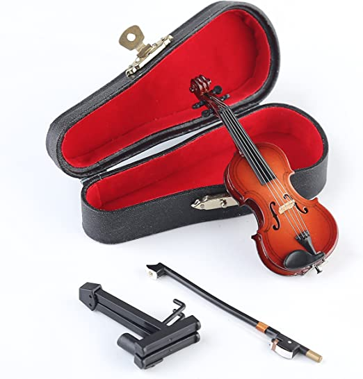 1//12 Juguetes Casa de Mu/ñecas Instrumentos Musicales Viol/ín Miniatura Madera con Soporte del Caso