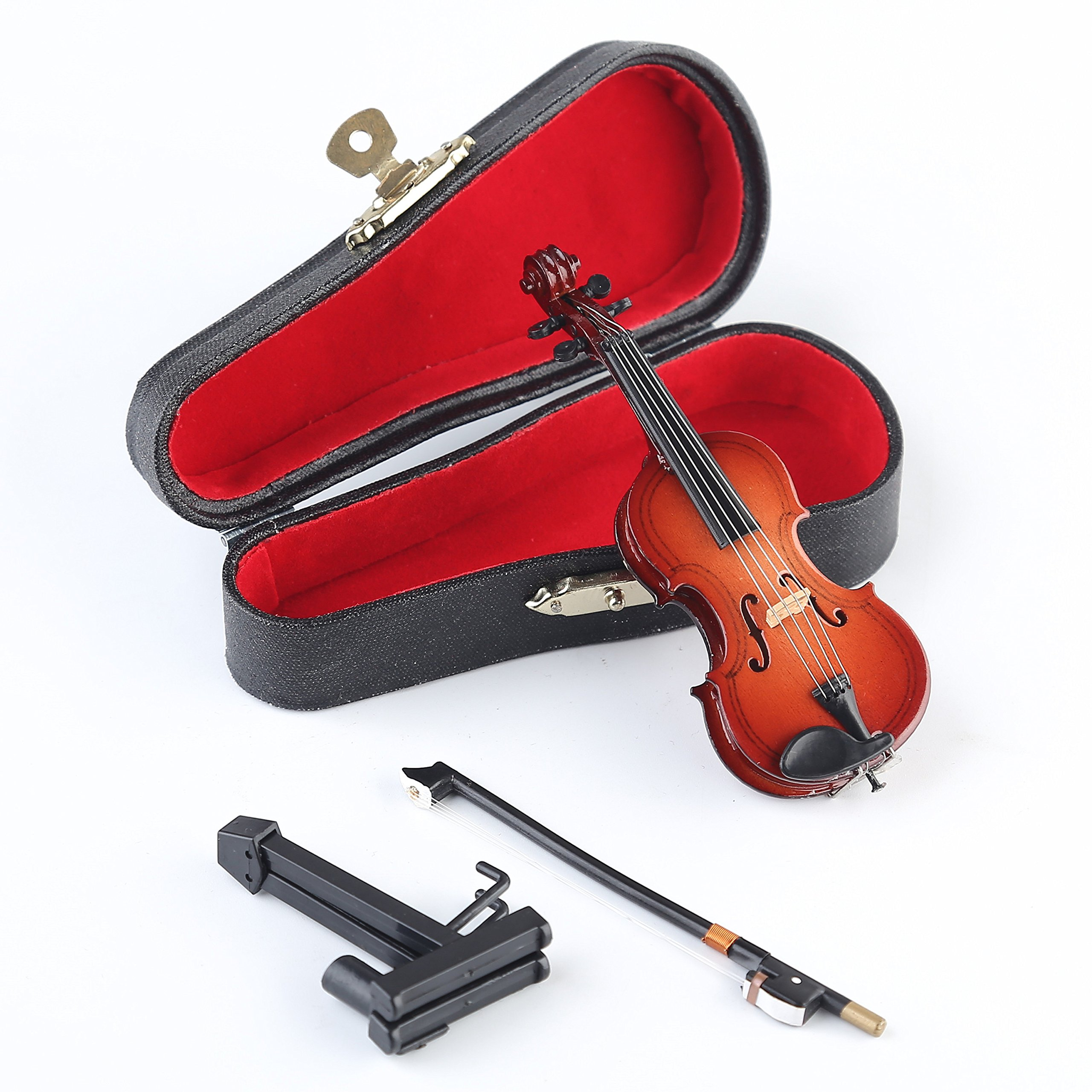 "Dselvgvu Wooden Miniature Violin with Stand,Bow and Case Mini Musical Instrument Miniature Dollhouse Model Home Decoration (3.94""x1.57""x0.63"")"