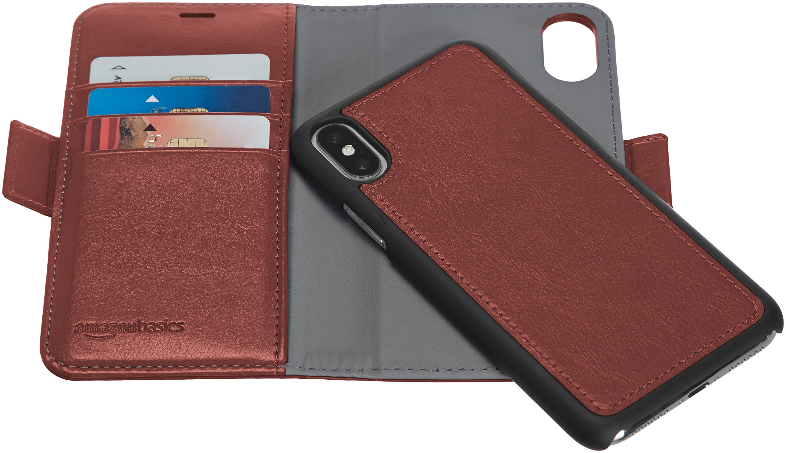 AmazonBasics iPhone X PU Leather Wallet Detachable Case, Dark Brown by AmazonBasics (Image #5)