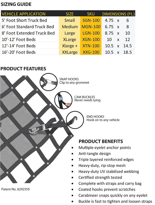 MGN-100 Medium Gladiator Cargo Net 6.75 x 8 ft. Heavy Duty Truck Cargo Net