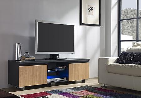 Mueble TV de 2 Puertas en Color Roble con LED: Amazon.es: Hogar
