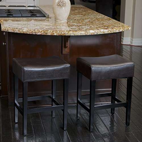 Christopher Knight Home Lopez Backless Leather Counter Stools, 2-Pcs Set, Brown