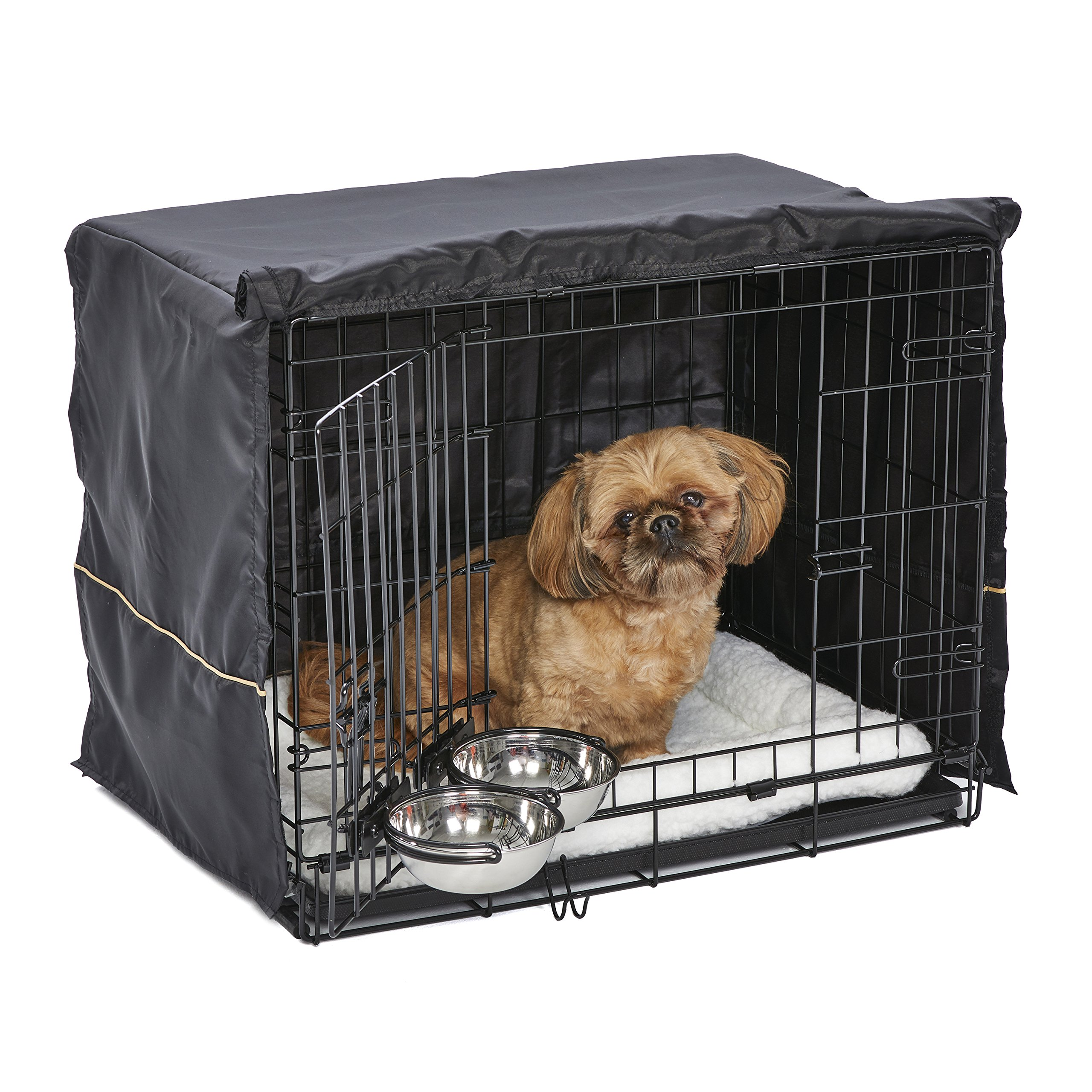 MidWest Homes for Pets Small Dog Crate Starter Kit | One 2-Door iCrate, Pet Bed, Crate Cover & 2 Pet Bowls | 24-Inch Ideal for Small Dog Breeds by MidWest Homes for Pets (Image #1)