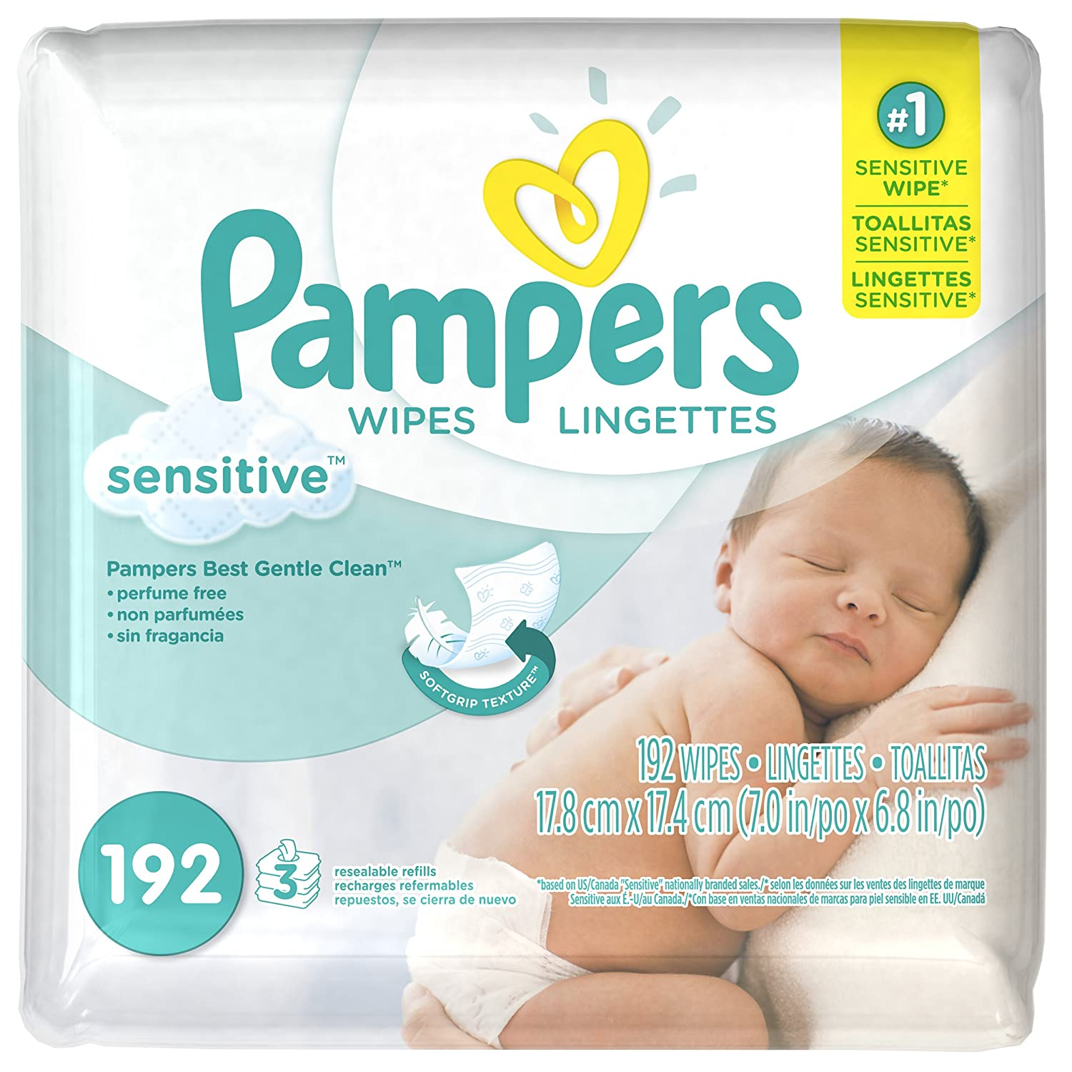 Pampers Baby Wipes, SENSITIVE, 3X Refill Packs, 192 Count PG-189