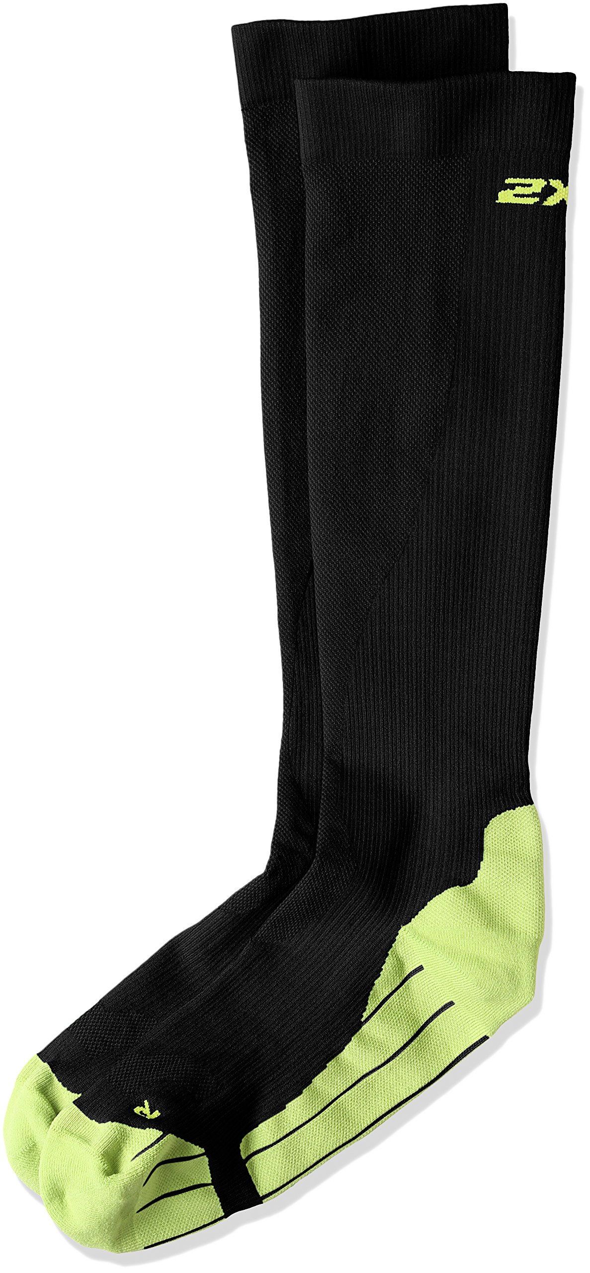 2XU Men's Compression Performance Run Socks, Black/Fluro Green, X-Small by 2XU (Image #2)