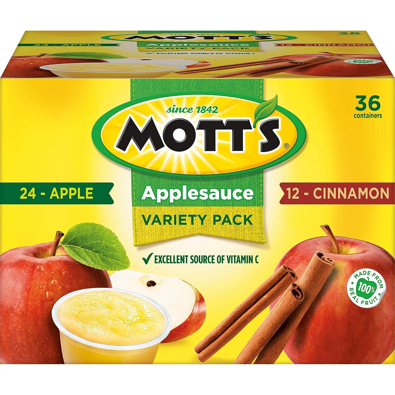 Mott's Apple & Cinnamon Variety Pack Applesauce, 4 Ounce Cup, 36 Count