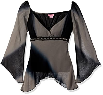She S Cool Junior S Poly Georgette Angel Sleeve Blouse Black