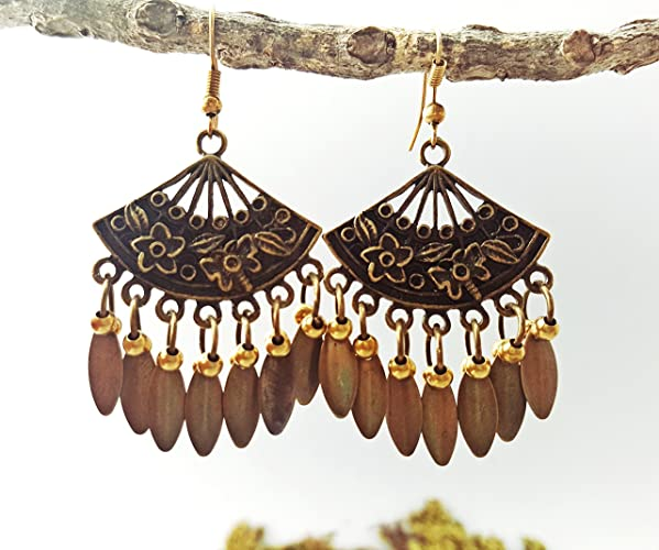 942e585c0 Image Unavailable. Image not available for. Color: Brass Flower Bohemian  Handmade Fan Earrings