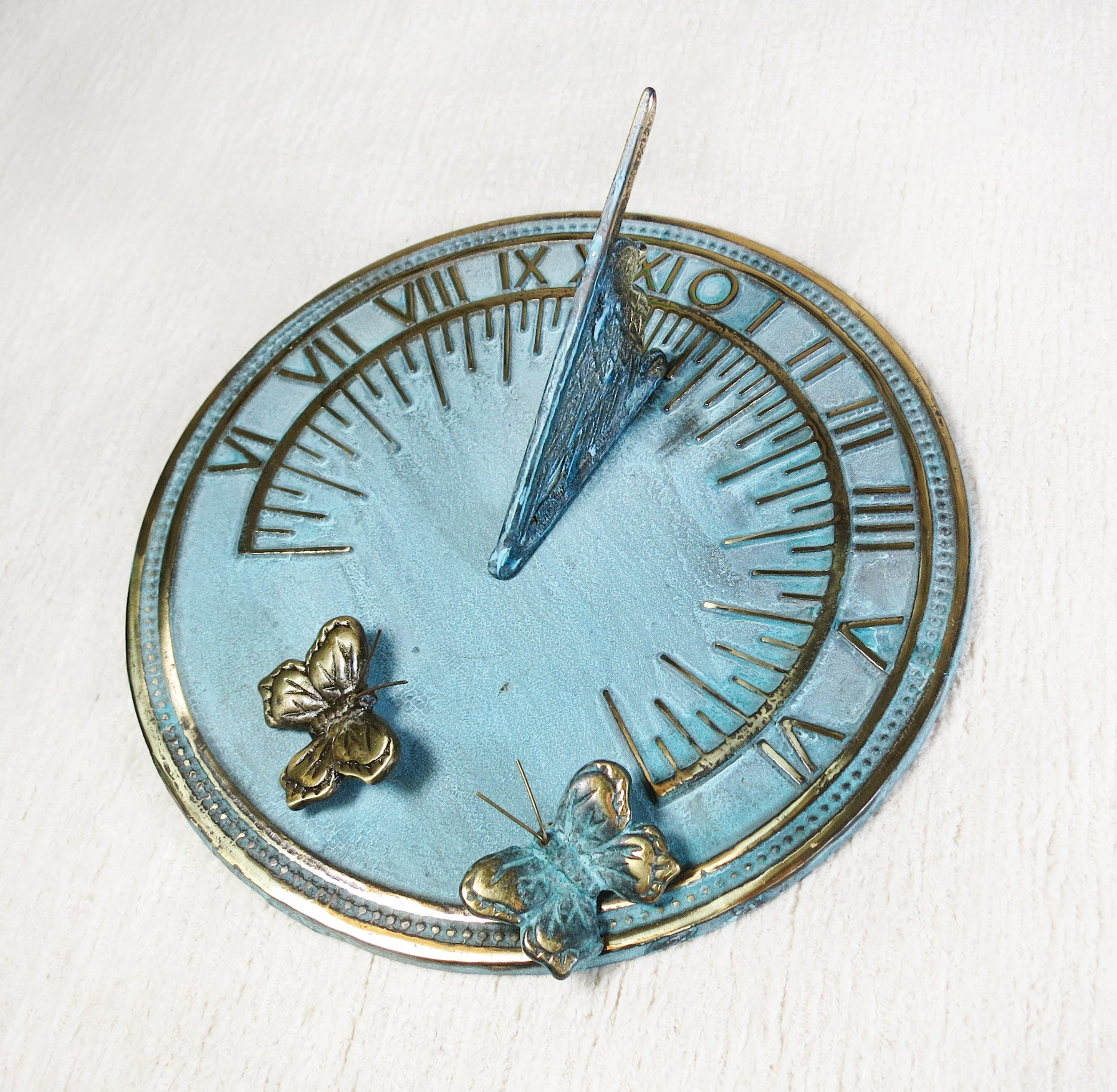 Decorative Brass Sundial 7'' inches wide - with 2 Little Butterflies